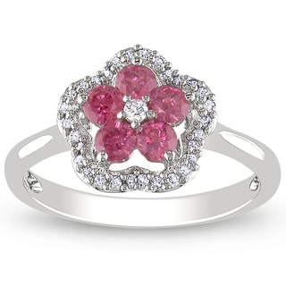 Miadora 14K White Gold 1/2Ct TDW Pink and White Diamond Fashion Ring
