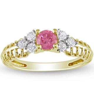 Miadora 14k Yellow Gold 1/2ct TDW Pink and White Diamond Ring (H-I, I1-I2)