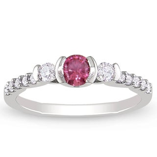 Miadora 14K White Gold 1/2Ct TDW Channel-set Pink and White Diamond Ring