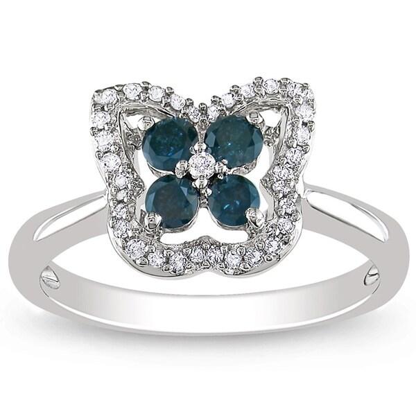 Miadora 14K White Gold 1/2 CT TDW Blue and White Diamond Ring (H-I, I1-I2)