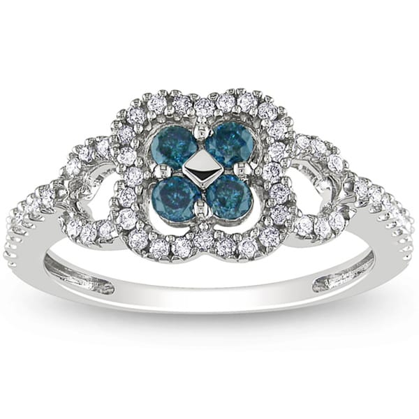 Miadora 14k White Gold 1/2ct TDW Blue-and-white Buttercup-set Diamond Ring (H-I, I1-I2)