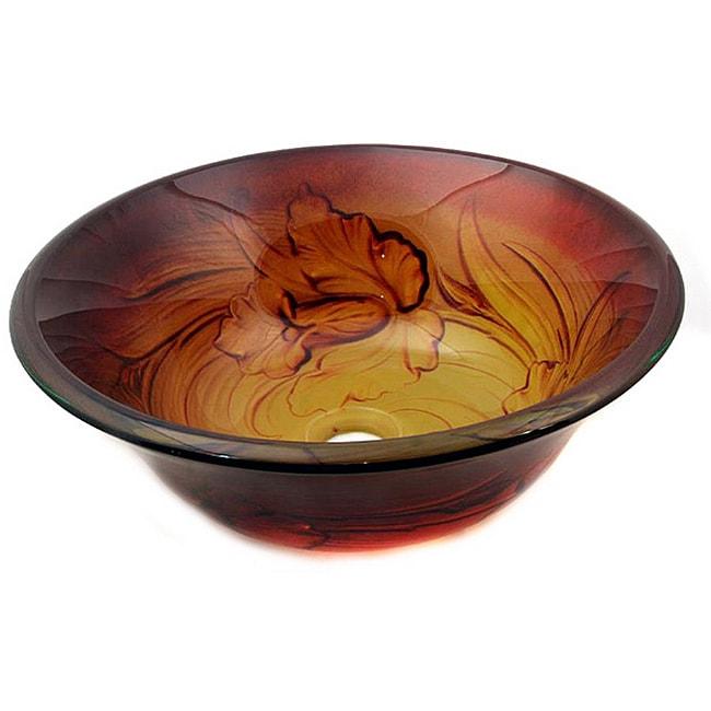 Glass Amber Flower Sink Bowl