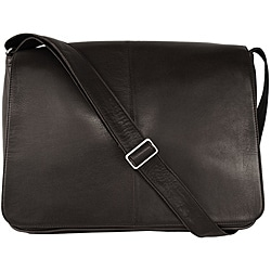 Latico 'Heritage' Black Leather Laptop Messenger Bag