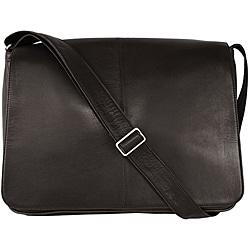 Latico 'Heritage' Black Leather Laptop Messenger Bag