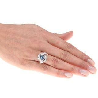 18k White Gold Aquamarine and 3ct TDW Diamond Ring (G-H, SI1-SI2)