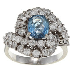 18k White Gold Aquamarine and 3ct TDW Diamond Ring (G-H, SI1-SI2)
