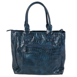 Journee Collection Women's Faux-Leather Double-Top Python-Print Tote Purse