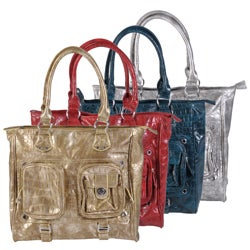 Journee Collection Women's Faux Leather Double Top Python Print Tote