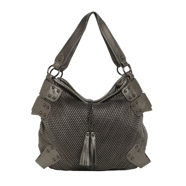 Journee Collection Women's Faux Leather Double Handle Tasseled Tote
