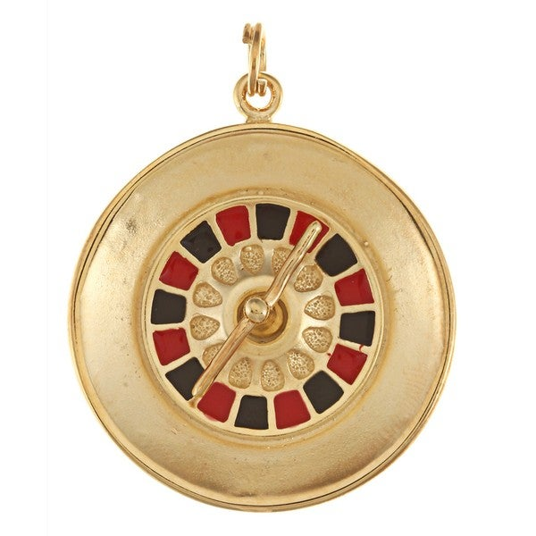 La Preciosa Goldplated Silver Red and Black Enamel Roulette Wheel Charm