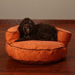 Crypton 'Bed of Roses' Bolster Orange 27-Inch Dog Bed