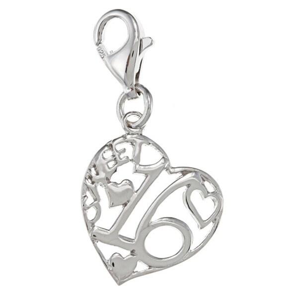 La Preciosa Sterling Silver 'Sweet 16' Heart Charm