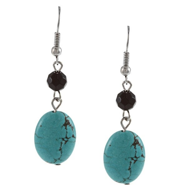 Crystale Silvertone Turquoise and Onyx Link Earrings