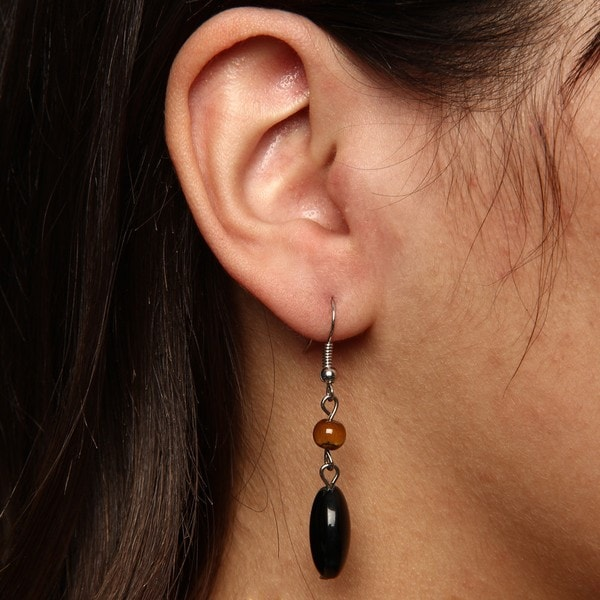 Crystale Silvertone Onyx and Tiger's Eye Link Earrings