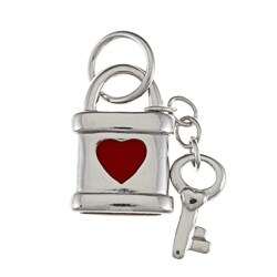 La Preciosa Sterling Silver Red Enamel Heart Lock and Key Charm