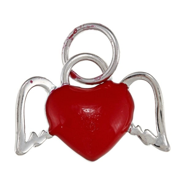 La Preciosa Sterling Silver Red Enamel Heart with Wings Charm
