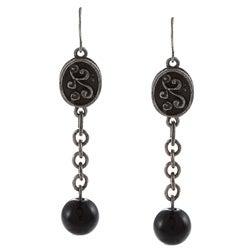 Crystale Silvertone Genuine Onyx Bead Linear Drop Earrings