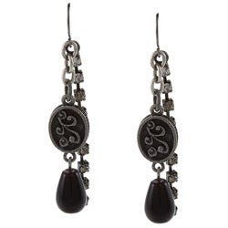 Crystale Silvertone Genuine Onyx Bead Textured Oval Earrings