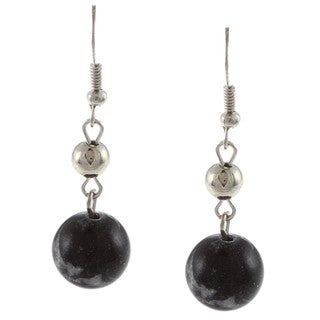 Crystale Silvertone Genuine Zebra Jasper Bead Earrings