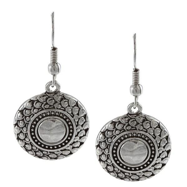 Crystale Silvertone Textured Disc Earrings