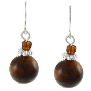 Crystale Silvertone Tiger's Eye Bead Earrings