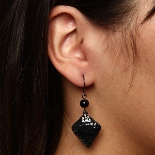 Crystale Gunmetal Genuine Onyx Bead Diamond Shape Earrings