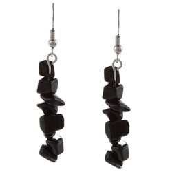 Crystale Silvertone Genuine Onyx Chip Linear Drop Earrings