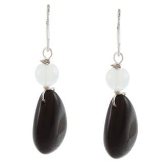 Crystale Silvertone Genuine Onyx and White Quartz Teardrop Earrings
