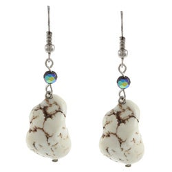 Crystale Silvertone White Magnesite and Onyx Earrings