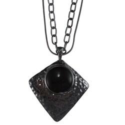Crystale Gunmetal-plated Onyx Diamond-shaped Necklace
