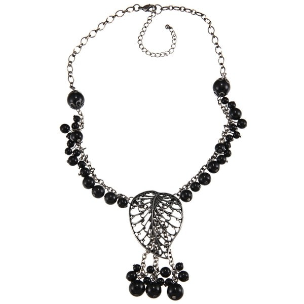 Crystale Silvertone Onyx Cluster Leaf Necklace