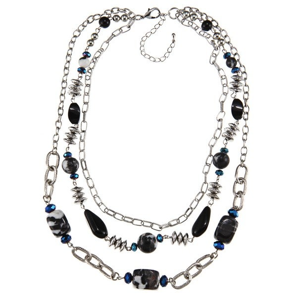 Crystale Silvertone Onyx and Zebra Jasper Chain Link Necklace