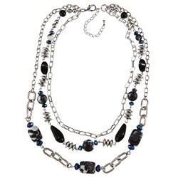 Crystale Silvertone Onyx and Zebra Jasper Chain Link Necklace