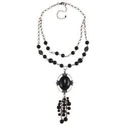 Crystale Silvertone Genuine Black Onyx Bead Cluster Necklace