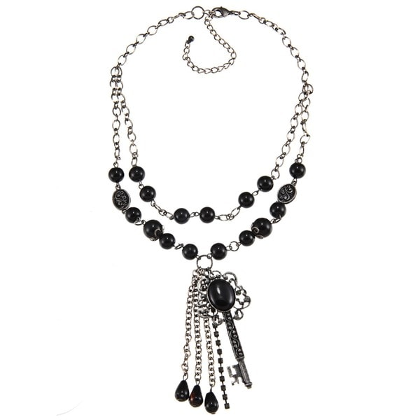 Crystale Silvertone Genuine Black Onyx Bead Key and Tassel Necklace