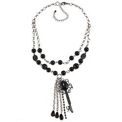 Crystale Silvertone Genuine Black Onyx Bead Key and Tassel Necklace
