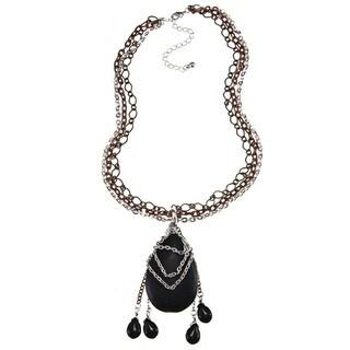 Crystale Silvertone Onyx Teardrop Tassel Necklace