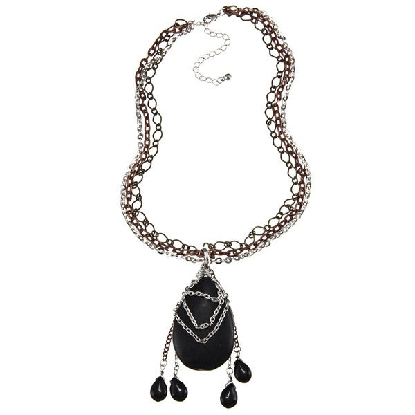 Crystale Silvertone Onyx Teardrop Tassel Necklace