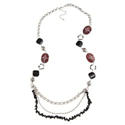 Crystale Silvertone Onyx Chip and Carnelian 36-inch Necklace