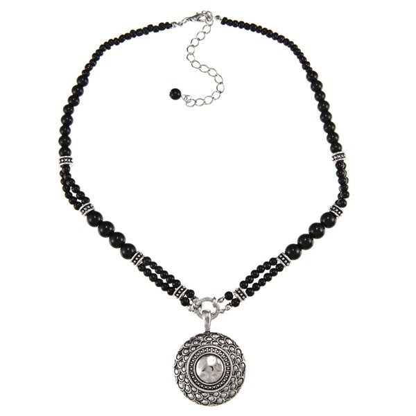 Crystale Silvertone Genuine Black Onyx Bead Disc Necklace