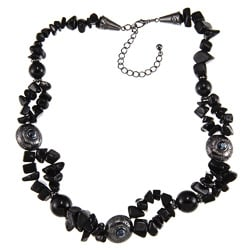 Crystale Silvertone Onyx Chip Cluster Necklace