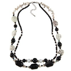 Crystale Silvertone Onyx and White Magnesite 2-row Necklace