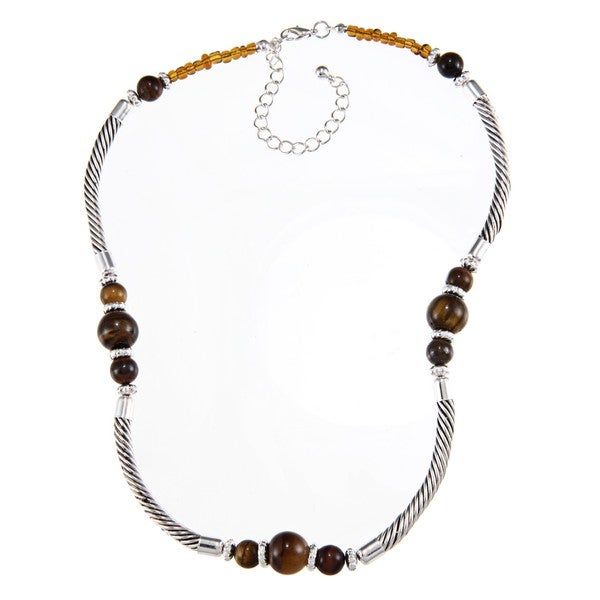 Crystale Silvertone Tiger's Eye Bead Tube Necklace