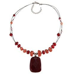 Crystale Silvertone Red Jasper and Coral Drop Illusion Necklace