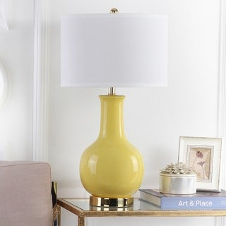 "Safavieh Lighting 28-inch Louvre Yellow Table Lamp - 15""x15""x27.5"""