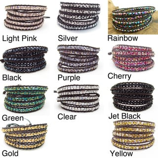 Mystique Colored Crystal 5-wrap Leather Bracelet (Thailand)