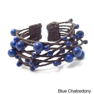 Blue Criss Cross Lapis Cotton Rope Cuff (Thailand)