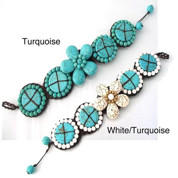 Blossom Floral Stone Cotton Rope Bracelet (Thailand)
