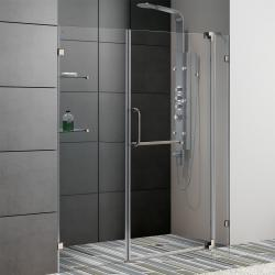 VIGO 66-inch Frameless Brushed Nickel Clear Glass Shower Door