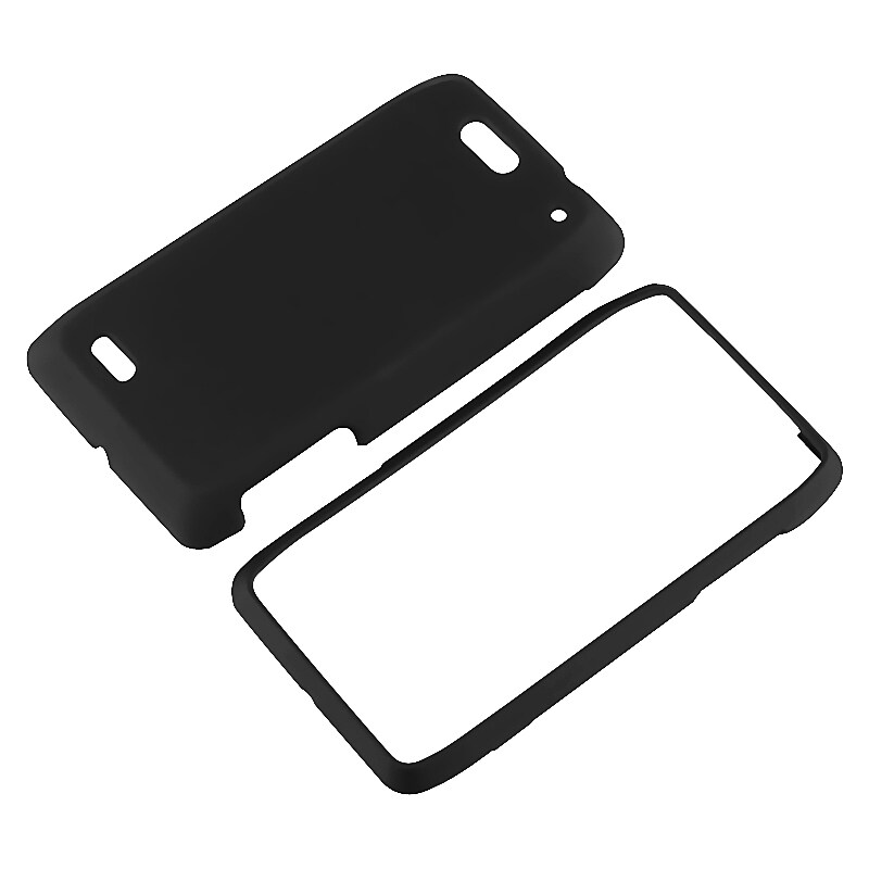 INSTEN Black Snap-on Rubber Coated Phone Case Cover for Motorola Droid 4